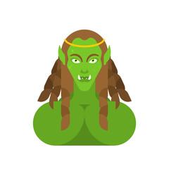 Ogre woman face. Green goblin Female portrait. berserk lady Troll