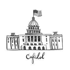 CAPITOL hand-drawn graphic illustration. sketch. Washington DC.