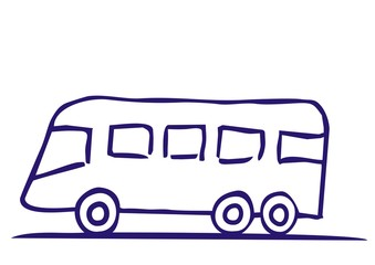 Sketch of bus, vector icon, blue contour