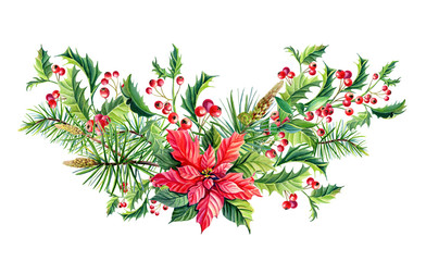 Watercolor Christmas bouquet with Red poinsettia flowers,Holly,leaves,berries,pine