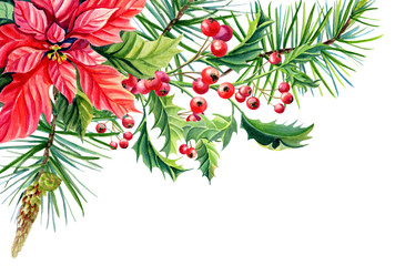 Watercolor Merry Christmas Frame banner with Red poinsettia