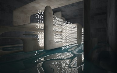 Empty dark abstract concrete room smooth interior with blue water. Architectural background. Night view of the illuminated. 3D illustration and rendering