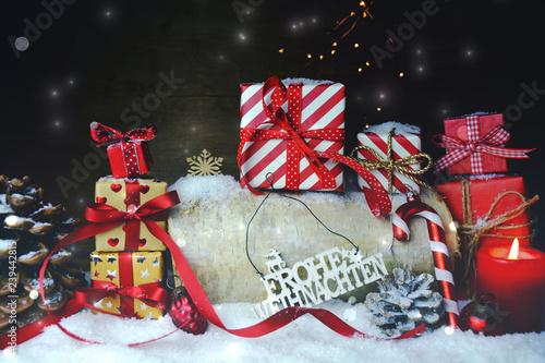 Frohe Weihnachten Grüße.Weihnachten Geschenk Päckchen Frohe Weihnachten Grüße Stockfotos