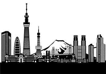ベクター、東京の街と富士山