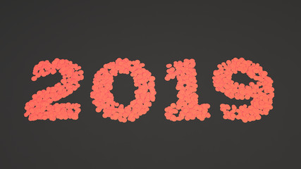 2019 number made from red confetti