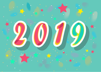 New Year 2019. Colorful Stars