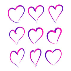 Set of gradient hearts. Vector illustration
