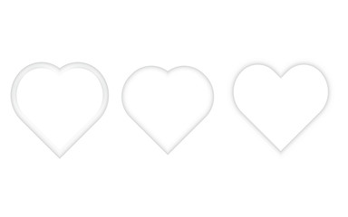 Heart on a white background in white color. Paper heart. Valentine's Day. Great template for cards, sites, banners. Vector illustration.