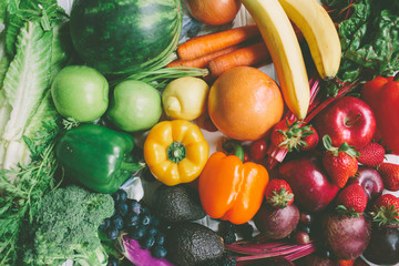Colourful fruits and vegetables.