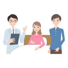 入院する妊婦。