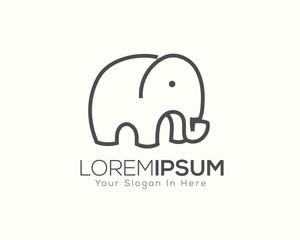 simple elephant line art logo design inspiration