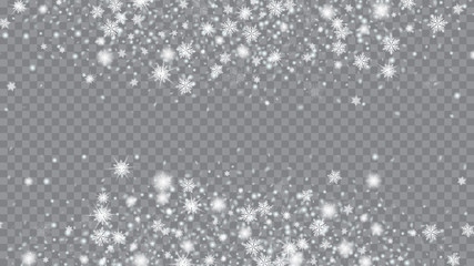 Winter snowflakes border trendy vector background. Bbright, White, Shimmer, Glowing, Scatter, Falling background. Holiday decoration Christmas banner. Transparent base.