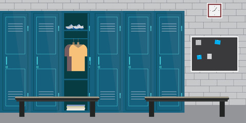 athletic room interior with locker and sporting equipment