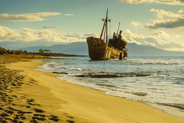 The famous shipwreck near Gythio Greece