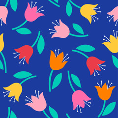 Colorful cute hand drawn floral seamless pattern background