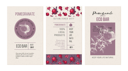 Eco bar banners template with hand drawn pomegranates