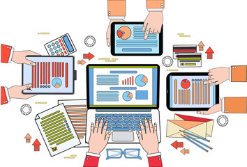 Business Desk Top View, Work Process With Diagrams And Documents, Businesspeople Hands Holding Digital Tablets And Laptop