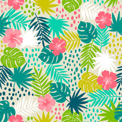 Hibiscus and tropical leaf seamless pattern with brush background