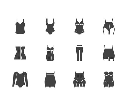 Shapewear flat glyph icons set. Corrective underwear, shaping bodysuit, thigh slimmer, leggings, waist control panties vector illustration. Clothes store sign. Solid silhouette pixel perfect 64x64