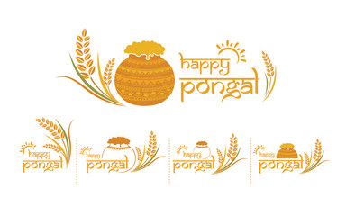 Happy Pongal Design Text Typography Collection Vector Illustration
