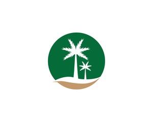 Palm tree summer logo template