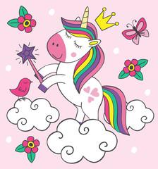 beautiful little unicorn on cloud - vector illustration, eps
