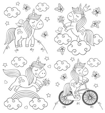 set of isolated coloring cute unicorn  - vector illustration, eps