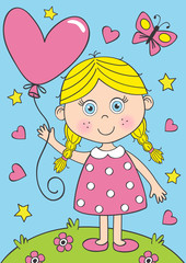 cute little girl with heart balloon  - vector illustration, eps
