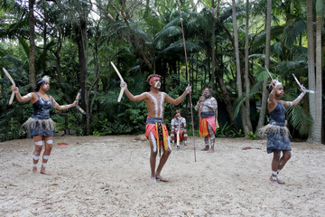 Indigenous Australians.People Dancing to Didgeridoo Musical Instrument Sound Rhythm