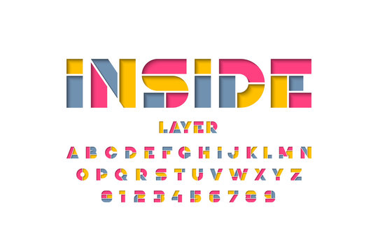 Layered font design, alphabet letters and numbers