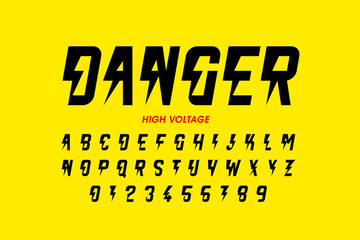 Danger! Hight voltage style font design, alphabet letters and numbers