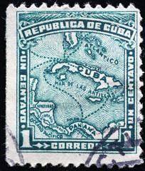 Map of Cuba on vintage postage stamp