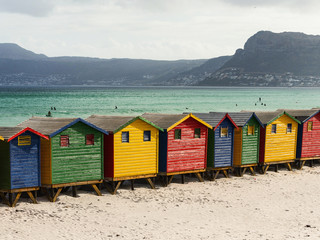 Colored Beach Huts, Cape Town, South Africa