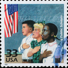 American children at school on postage stamp
