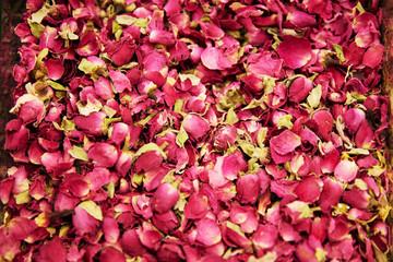 Dried Rose Flowers And Tea Herbs Closeup