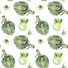 Watercolor artichoke fennel vegetable isolated seamless pattern.