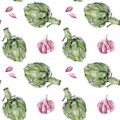 Watercolor artichoke garlic vegetable isolated seamless pattern.