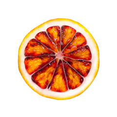 Top view of textured ripe slice of red orange citrus fruit isolated on white background. Grapefruit slice. Blood orange.