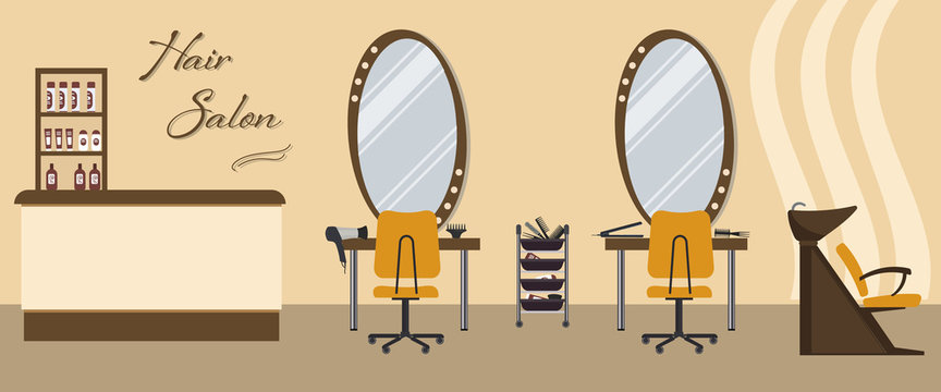 Hair salon interior in yellow color. Beauty salon. There are tables, chairs, a bath for washing the hair, mirrors, hair dryer, combs and shelves with hairdressing accessories in the picture. Vector