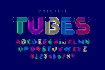 Colorful tubes font, alphabet letters and numbers