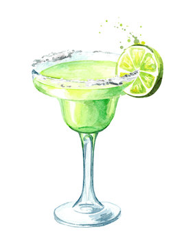 Glass of  Classics Margarita cocktail with lime and salt. Watercolor hand drawn illustration, isolated on white background