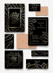 Golden leaves invitation card.