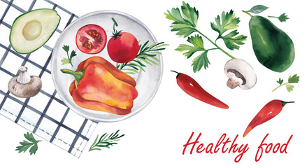 Vegetarian food. Bulgarian pepper, tomatoes, herbs, lying on a plate. Avocado, parsley, champignons, pepper, lying next to the plate. Watercolor illustration.