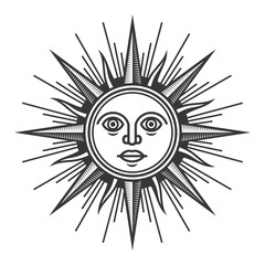 Antique Sun Face Icon on White Background. Vector