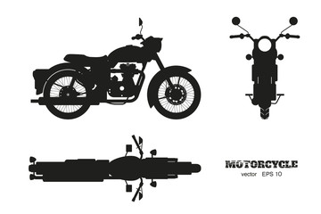 Black silhouette of retro classic motorcycle. Side, top and front view. Drawing of vintage motorbike on white background