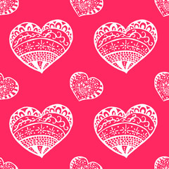 Seamless pink heart pattern vector. Happy valentines day background .