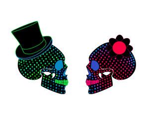 Skull icon wedding couple background halftone
