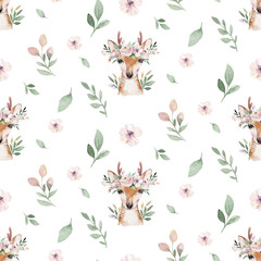 Watercolor Seamless hand illustrated floral pattern with floral leaf, pink flowers and baby deer. Watercolor boho spring wallpaper botanical background textile