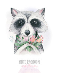 Watercolor cartoon isolated cute baby raccoon animal with flowers. Forest nursery woodland illustration. Bohemian boho drawing for nursery poster, pattern
