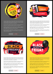 Friday Sale, Promo Labels, Black Balloon Vector